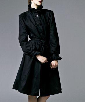 Ruffle Coat with Swing Skirt