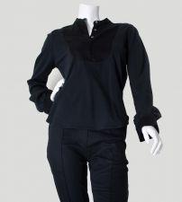 Round Neck Bib Shirt - Black - 35.00€