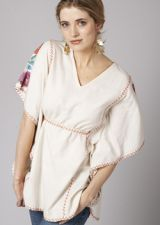 Rose Embroidered Top - Cream - 20.00 €