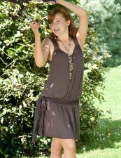Drop Waisted Mini Dress - Taupe Brown - 40.00 €
